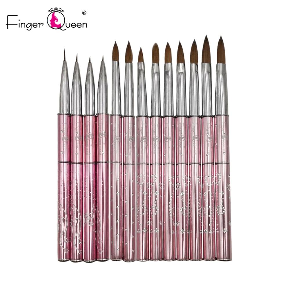 Kolinsky Tail Hair Pink Pen Detachable Metal Nail Art Brush Polish UV Painting Drawing Salon Nail Tips Tool Manicure B065