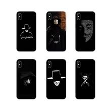 Coque transparente TPU pour Samsung A10 A30 A40 A50 A60 A70 Galaxy S2 Note 2 3 Grand Core Prime Vendetta anonyme Guy Fawkes masque