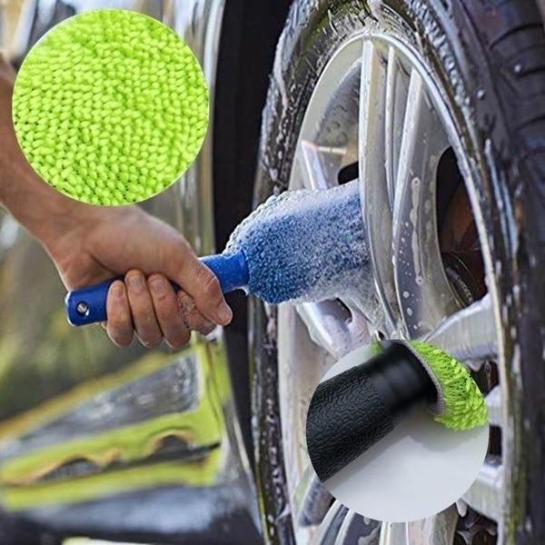 Car Upgraded version Lengthened Car maintenance Rim Cleaning Brush Car Wash Beauty Microfiber Wheel Rim Detailing Brush
