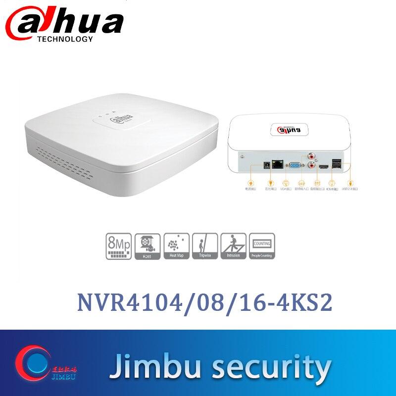 Dahua NVR Video Recorder NVR4104-4KS2 NVR4108-4KS2 NVR4116-4KS2 4K&H.265 Up to 8MP Heat map people counting Intrusion tripwire