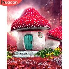 HUACAN peinture par numéro champignon acrylique dessin sur toile coloriage par numéros maison Kits décor à la maison