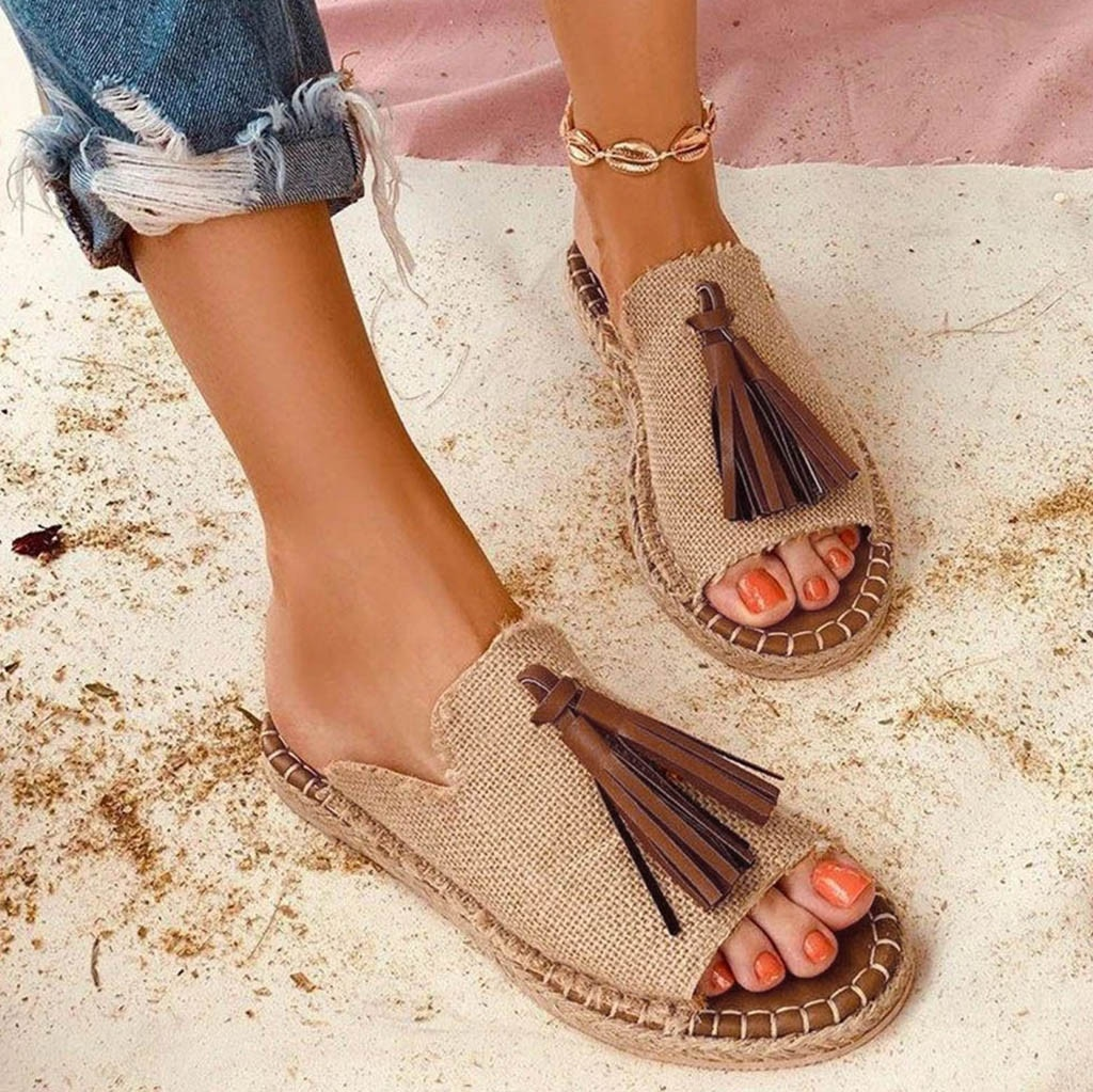 Deslizamento em Chinelo Sapatos Femininos Verão Bohemia Borla Borlas Chinelos Casuais Planos Peep Toe Sandálias Mais Tamanho