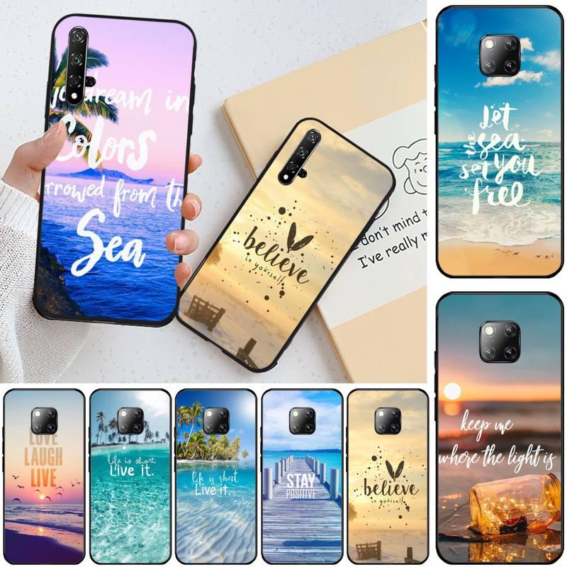 Ivits verano cielo azul playa citas negro suave teléfono funda para Honor 20 20lite view20 7C 8C 7A 8A 10i 20i PLAY 9X Pro