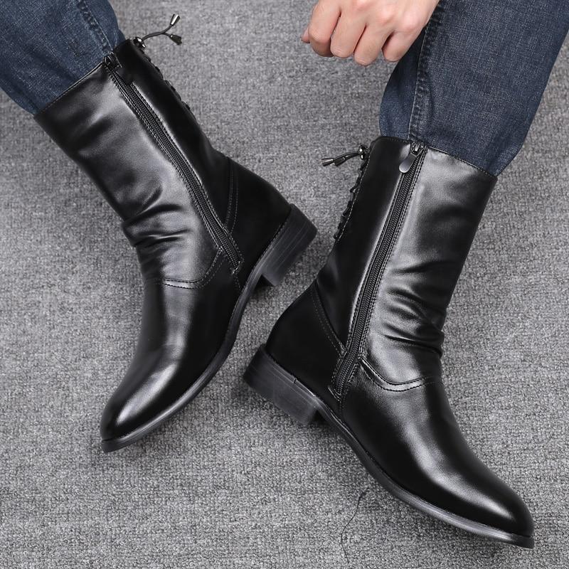 Botas por debajo de la rodilla de motocicleta para hombre, zapatos de...