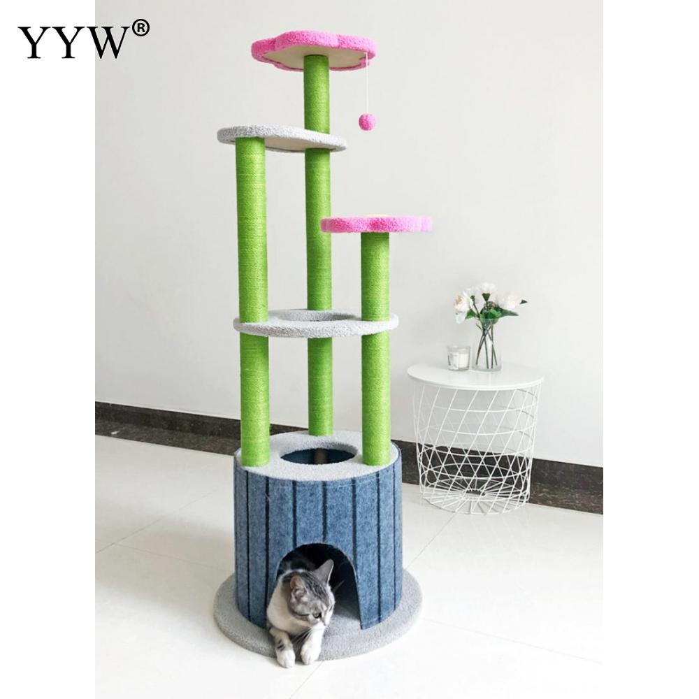 Cat Tree House Cat Climbing Frame Tree Tower Cat Scratching Post Scratcher Pole Furniture Pet Toy Cat Jumping Platform With Ball
