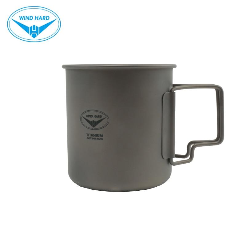 Taza de titanio para exteriores dura de viento, vajilla, taza de Camping, taza de agua para Picnic, taza de café de 480ML