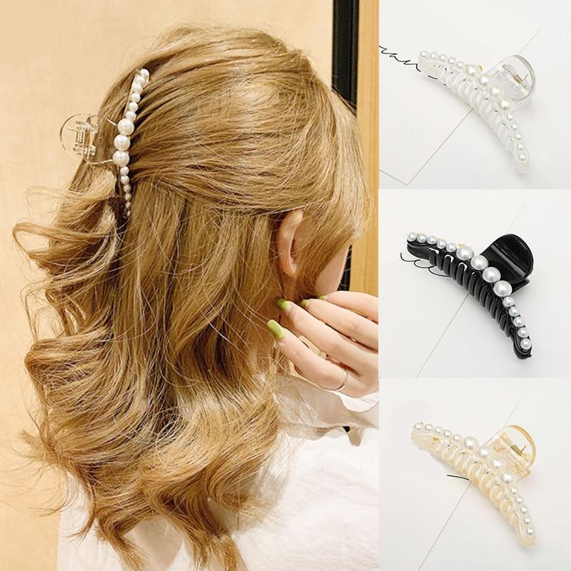 Fashion Women Hair Claw Clamp Girl Imitation Pearl Hair Clips Acrylic Geometric Hairpins Hair Accessories Barrettes Headwear