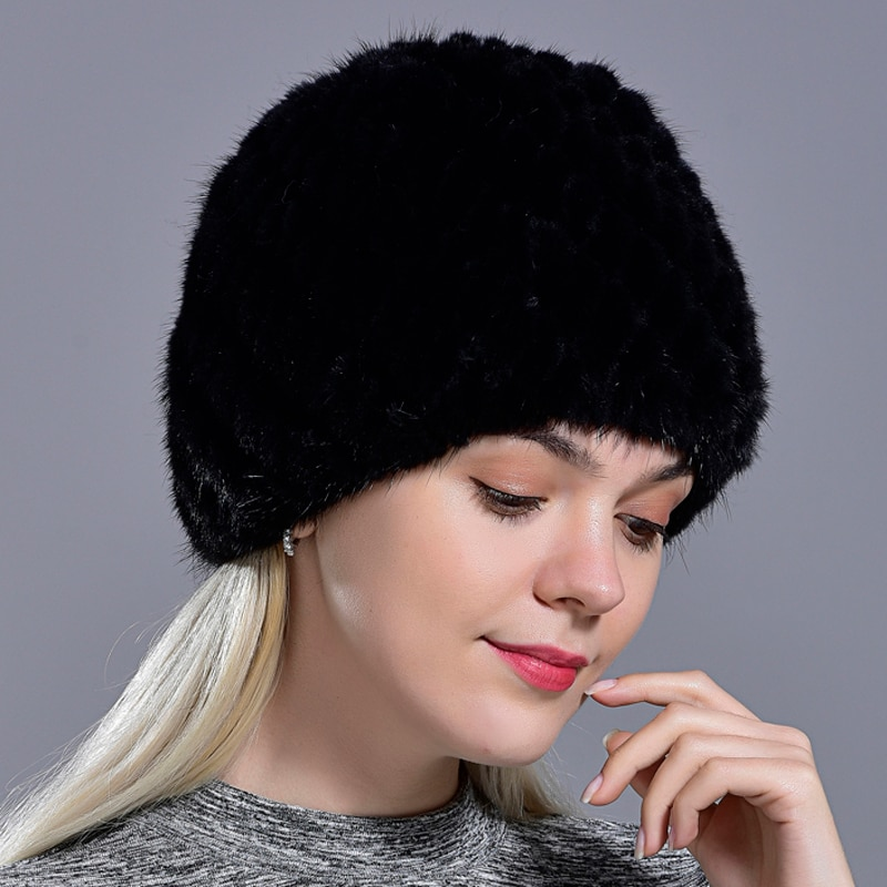 winter womens mink fur hats natural real fur knitted cap fashionable fluffy ladies genuine fur beani