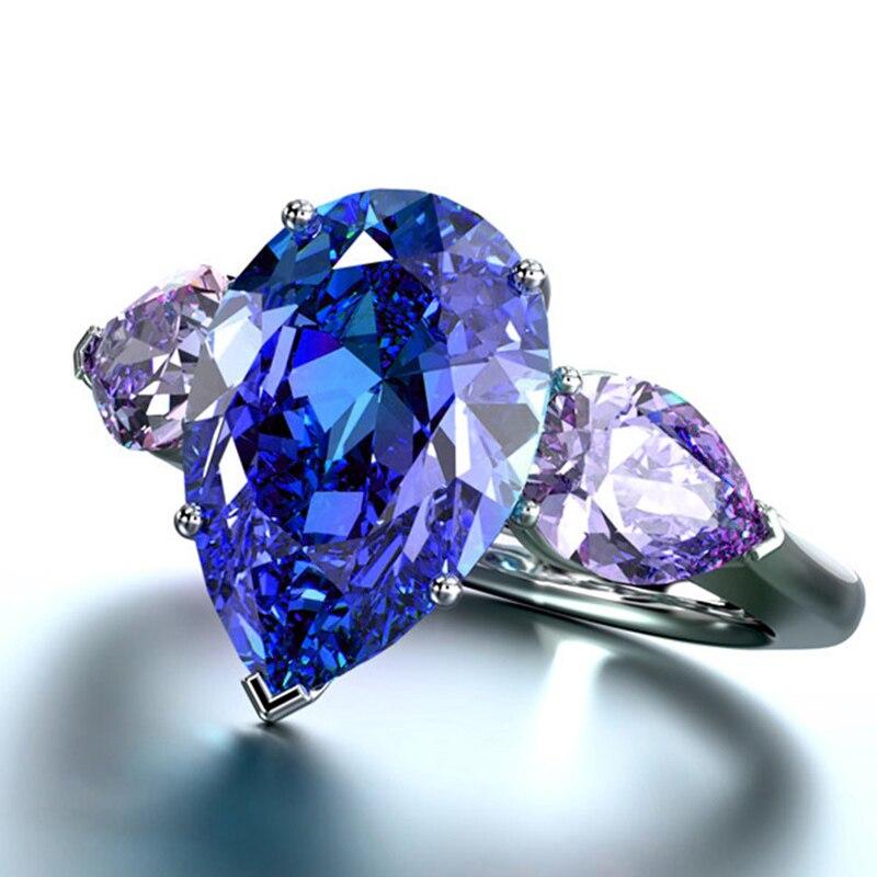 Anillos de boda de gota de agua Huitan con triples brillantes azules y morados, piedra de circón cúbico, joyería de lujo para los dedos de las mujeres para fiestas
