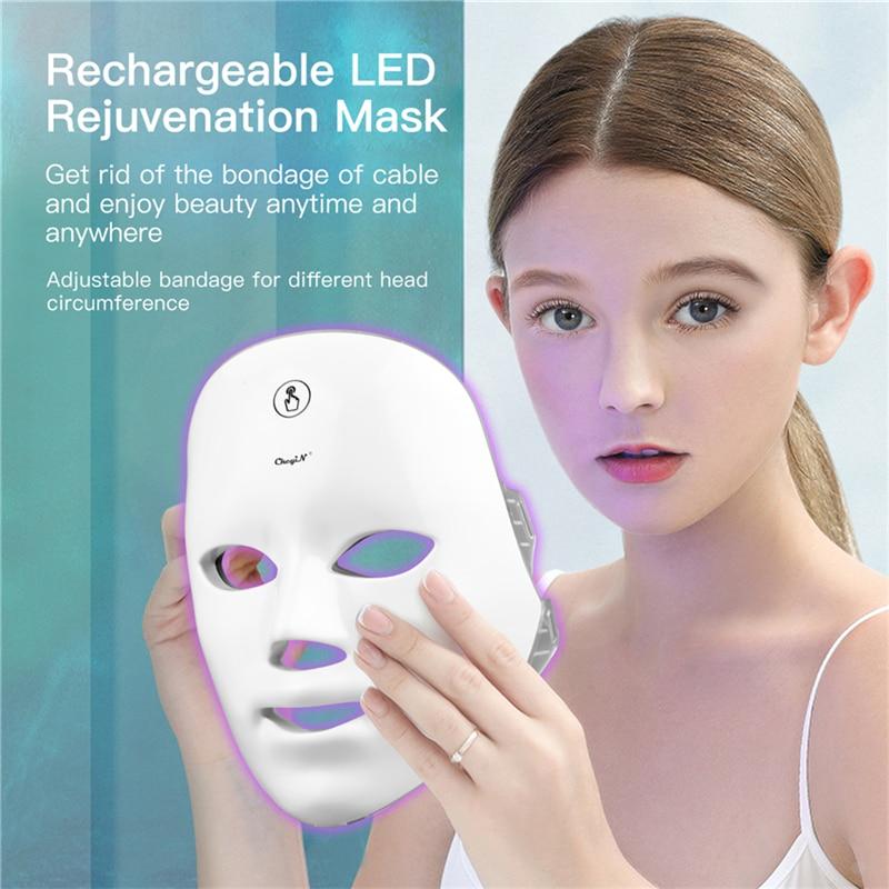 CkeyiN LED قناع الوجه 7 لون ضوء العلاج قابل للشحن جهاز العناية بالوجه LED قناع تجديد الجلد تشديد التجاعيد Toning50