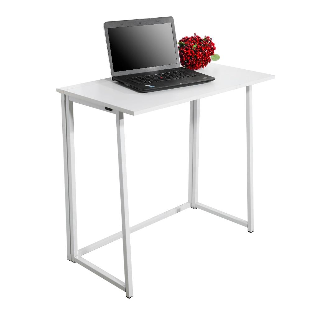 مكتب كمبيوتر قابل للطي بسيط أبيض