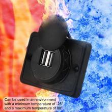 3,1 EINE 12V LED Universal Auto Ladegerät Wasserdicht Dual USB Port Ladegerät Steckdose Schwarz ABS