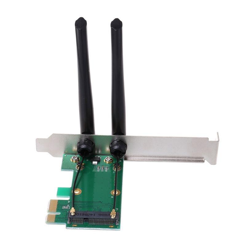 Wireless Network Card WiFi Mini PCI-E Express to PCI-E Adapter with 2 Antenna External PC Desktop enlarge