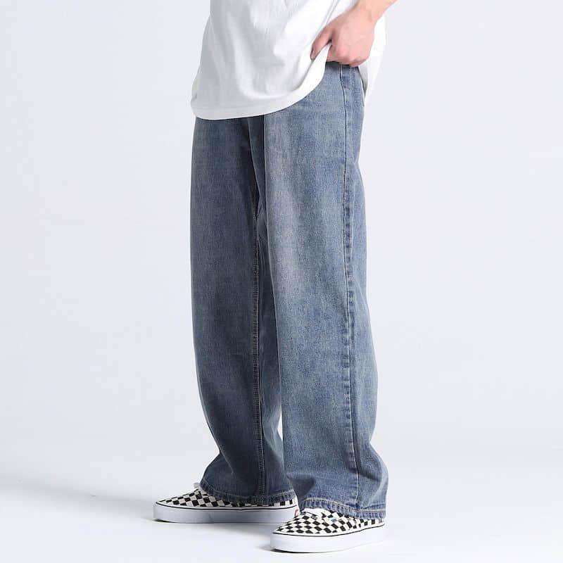 Men's and women's jeans American loose denim daddy pants men's oversize straight wide-leg mopping wash jeans trend streetwear