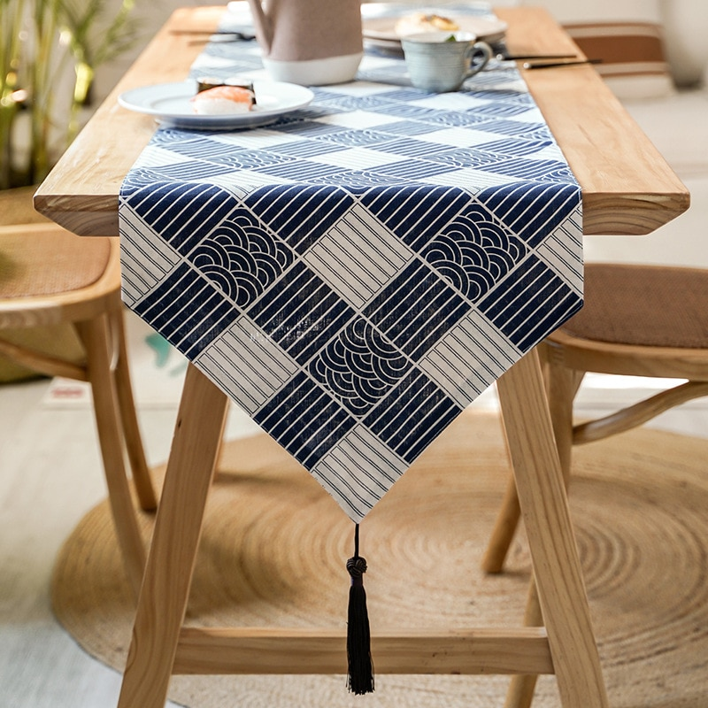 New product table runner Japanese style Zen tea cotton and linen plaid fabric retro all-match tablecloth