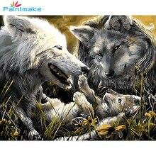 Pintura animal diy pintura por números desenho kits lobo óleo pintados à mão sobre tela para decoração de casa arte imagem gx9463