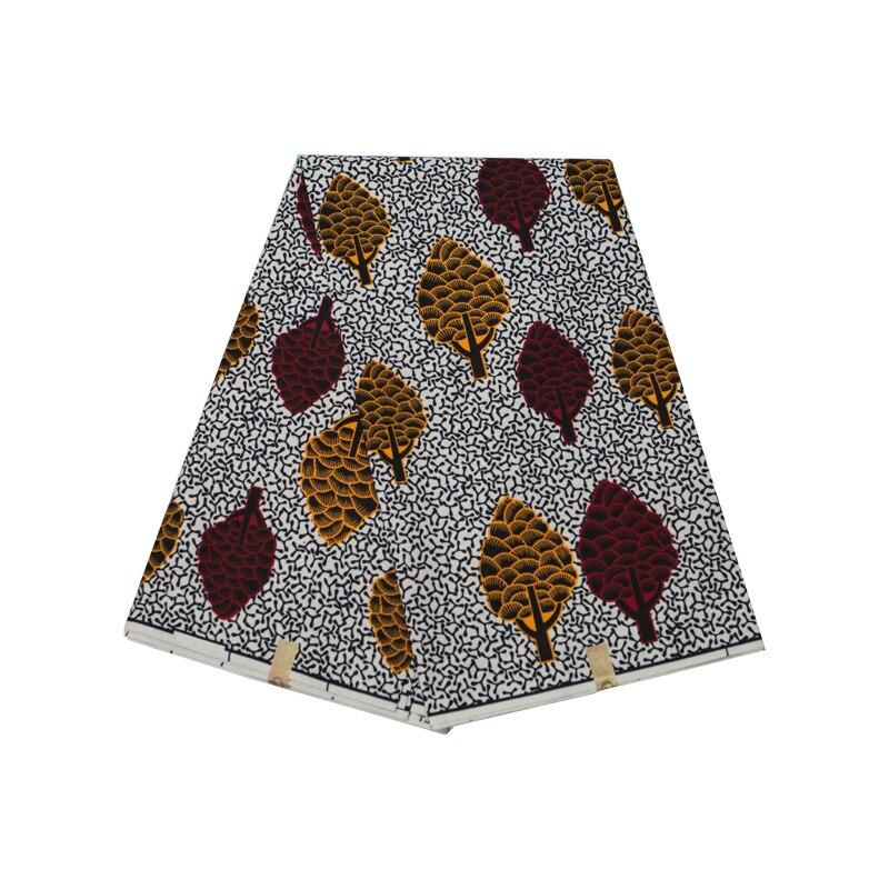 Tela estampada de cera de poliéster, chaleco floreado de Ankara, alta calidad, 6 yardas por lote, vestido de fiesta de tela africana FP6282
