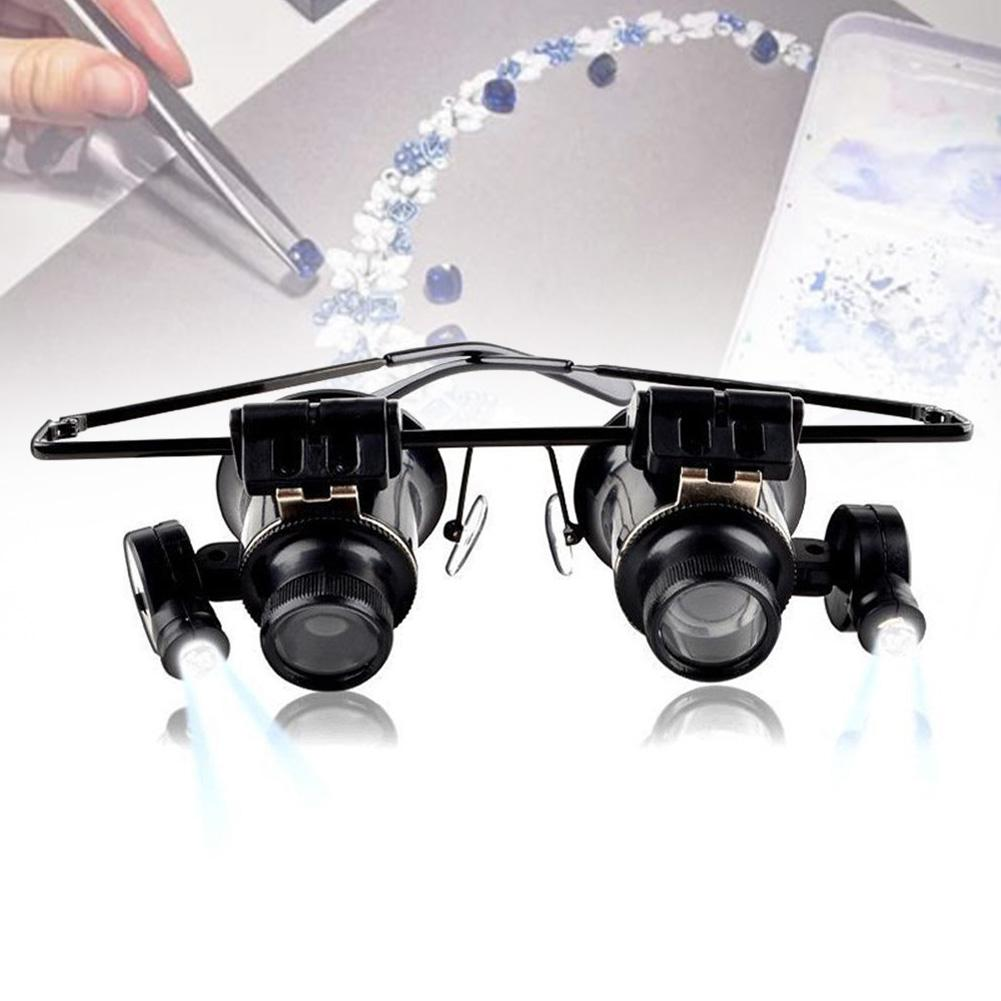 Lentes binoculares tipo 20X reloj reparación de joyería lupa con luz LED joyero lupa joyero gafas