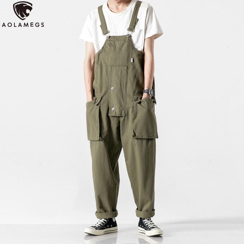 Aolamegs, monos de carga japoneses para hombre, pantalones de pierna ancha multibolsillos de calle alta Vintage para hombre, monos sólidos informales holgados de moda para pareja