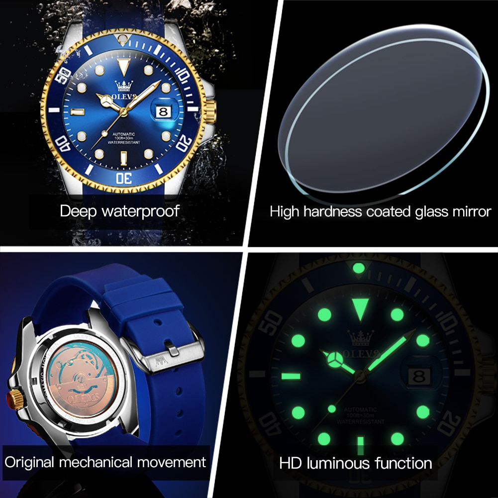 OLEVS Automatic Mens Watches Top Brand Luxury Water Ghost Mechanical Watch Silicone Strap Waterproof Luminous Men Clock 6650 enlarge