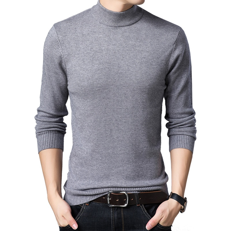 Men's Winter Sweater Thick-Plain Knit Base Woollen Sweater Middle-aged Men'S Wear Slim Fit Stretch Sweater Men's