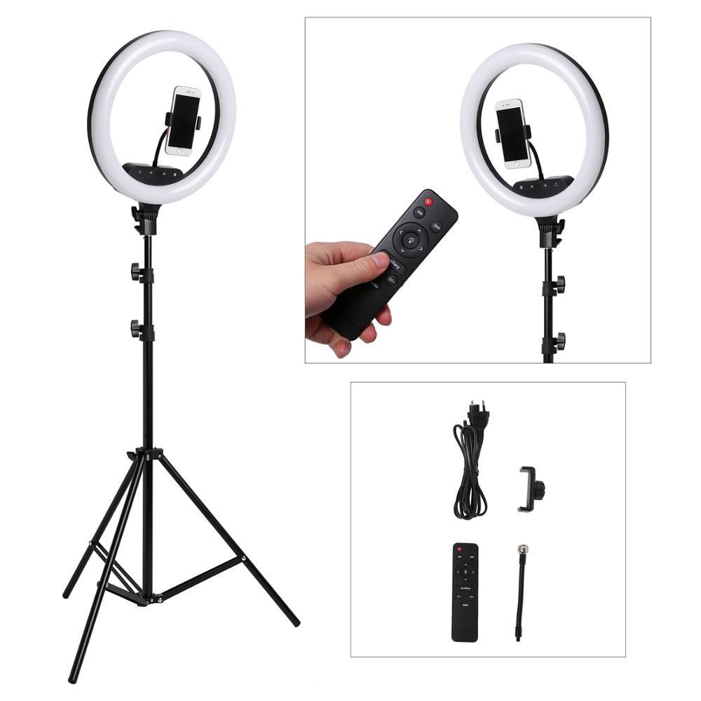 14 zoll Foto Studio beleuchtung Remote Touch LED Ring Licht Kamera Telefon Fotografie Dimmbare Ring Lampe Mit 200CM Foto stativ