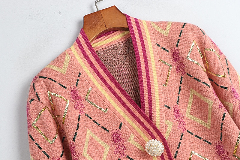 2020  Sweater V Neck Long Sleeve Cardigan Pink Button S M L enlarge