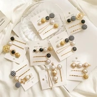 new product houndstooth hair clip three piece crown pearl button one word clip side clip geometric bangs fixed clip female jewel