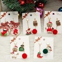 new christmas snowman plush ball tassel asymmetric earrings trend snowflake christmas hat holiday gift pendant earrings jewelry