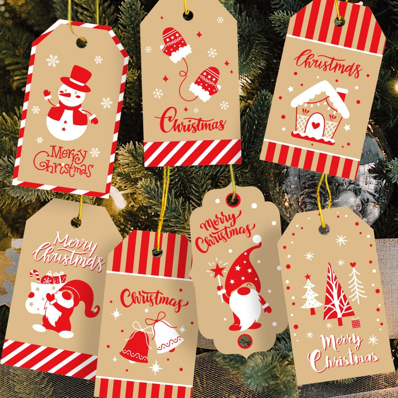 100pcs Christmas Kraft Paper Present Tags with 100pcs Strings Xmas Tree Hanging Label Gifts Decoration Wrapping Tags for Holiday