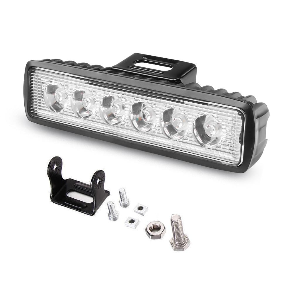 Barra de luces led de una sola fila, luz de trabajo de 12V 18W, luces de barra led todoterreno para camiones, tractores, foco de luz automático, soporte de metal