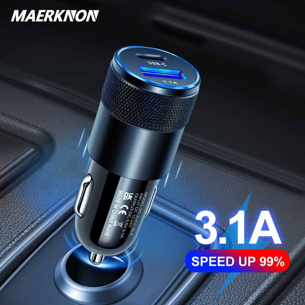 Fast Charge Car Charger PD Charger qc3.0 for iPhone Android USB-A + Type-c Dual Port USB Charger Pho