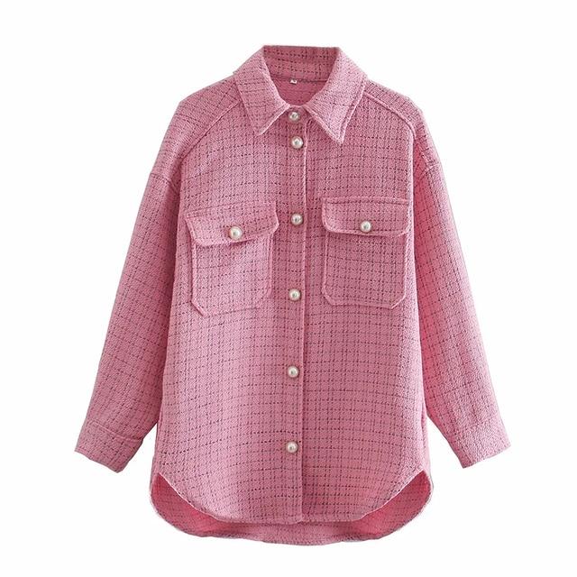 ZXQJ Tweed Women Vintage Oversize Plaid Shirts 2021 Spring-Autumn Chic Ladies Streetwear Loose Shirt Elegant Female Outfit Girls 8