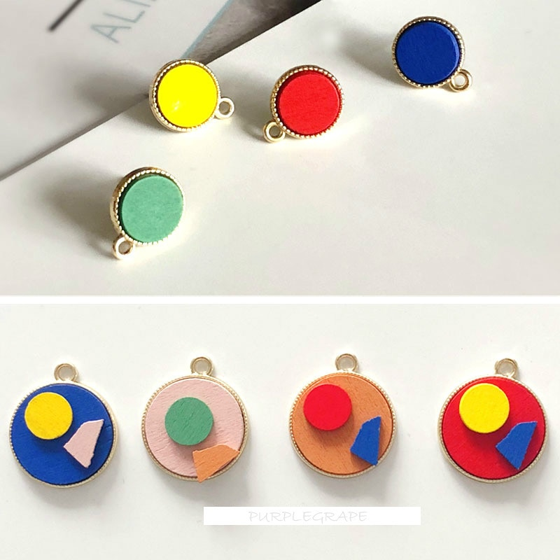 Color round wooden earring material diy925 sterling silver earring wood art retro art contrast accessories