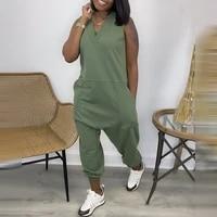 women fashion elegant sleeveless partywear jumpsuits overalls casual v neck pocket design jumpsuit