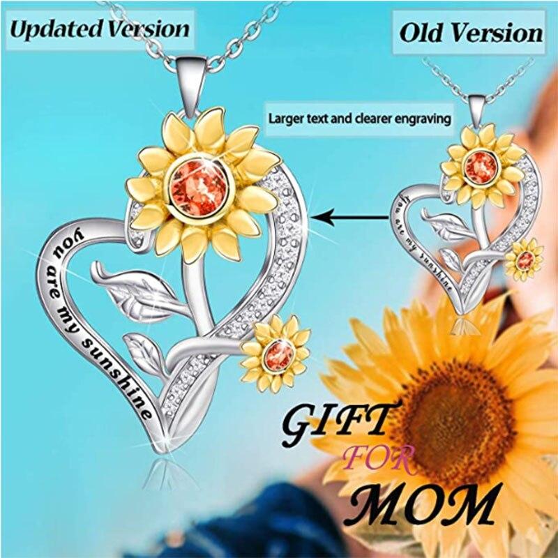 COLLAR COLGANTE con girasol en forma de corazón y amor elegante para mujer, regalos de joyería de cumpleaños para mujer, You are my sunshine blends, hija y esposa