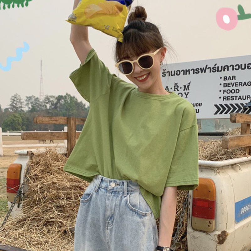 Loose All-Match Short-Sleeved T-shirt for Women 2021 New Spring and Summer Solid Color Short Inner B
