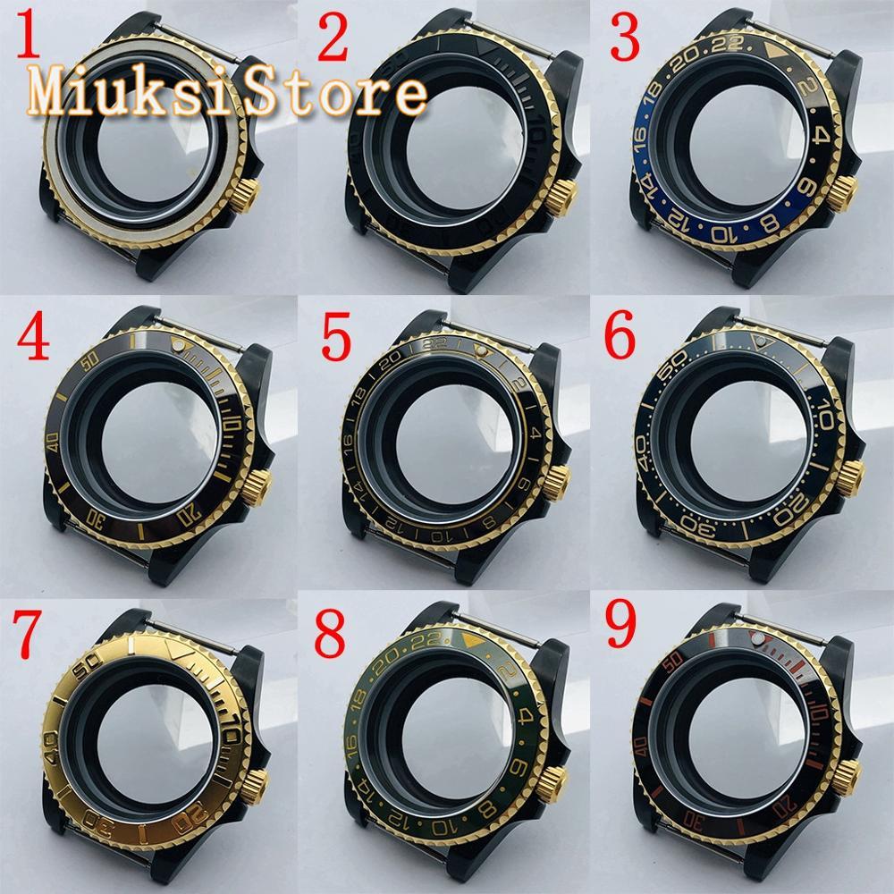 Caixa de Vidro de Volta Vidro de Safira Milímetros Estéril Preto Case Transparente Fit Nh35 36 Eta2836 Miyota8205 8215 821a Dg2813 3804 40 Pvd