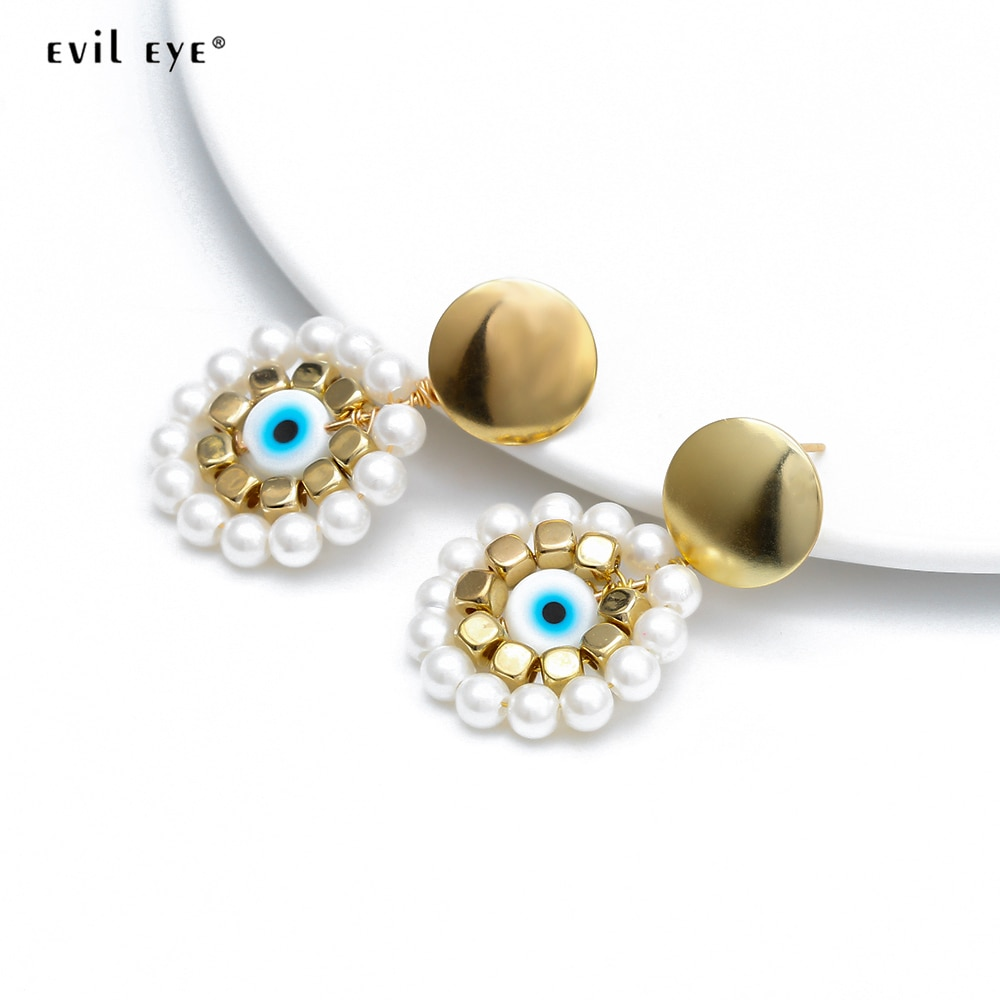 Pendientes de flor de mal de ojo de pavo pendientes de Color dorado para mujer joyería de moda regalo hecho a mano EY6520