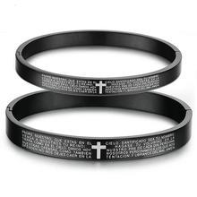 Cruz de la Biblia inglesa pulsera de acero de titanio pulsera de Cruz religiosa cristiana Rosario Mercy Jesús