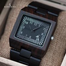 Bobo Vogel Uurwerken Bamboe Houten Mannen Horloges Top Luxe Merk Rechthoek Ontwerp Hout Band Horloge Voor Mannen