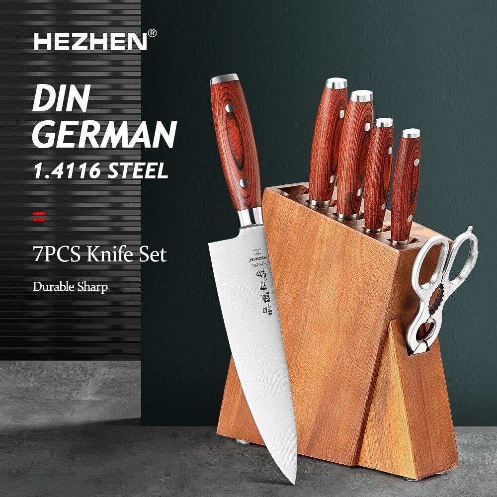 HEZHEN Bassic سلسلة 5-7 قطعة سكين مجموعة الفولاذ المقاوم للصدأ الجوز مقص سكين حامل مع Pakka الخشب مقبض سكين مطبخ أداة
