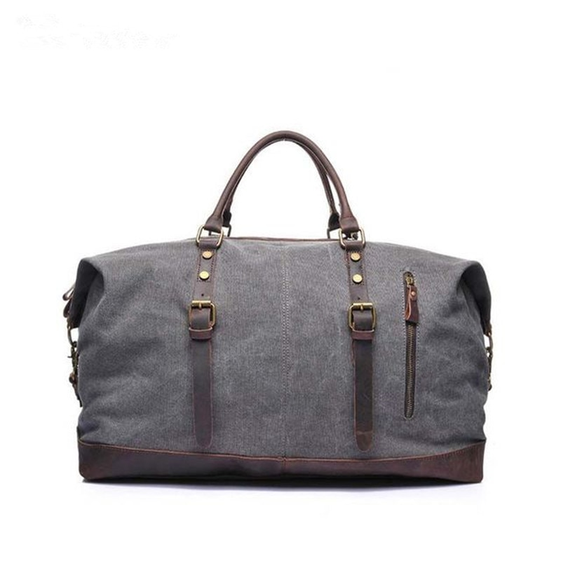 Retro Style Men's Canvas Travel Bags Vintage Shoulder Bag with Leather Handle Traveling Luggage Bag Casual Travle Tote