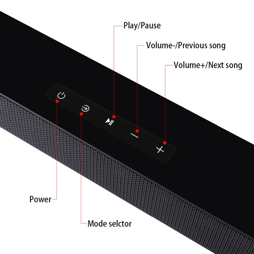 BEASTUN Soundbar TV Speaker Wired & Wireless Home Theater 40W Bluetooth Speaker with Subwoofer Support Optical Coaxial HDMI-ARC enlarge