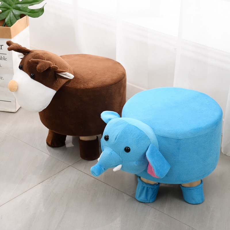 Children's solid stool fashion creative home stool pretty doll stool authentic wooden low stool kids creative elephant stool with cartoon