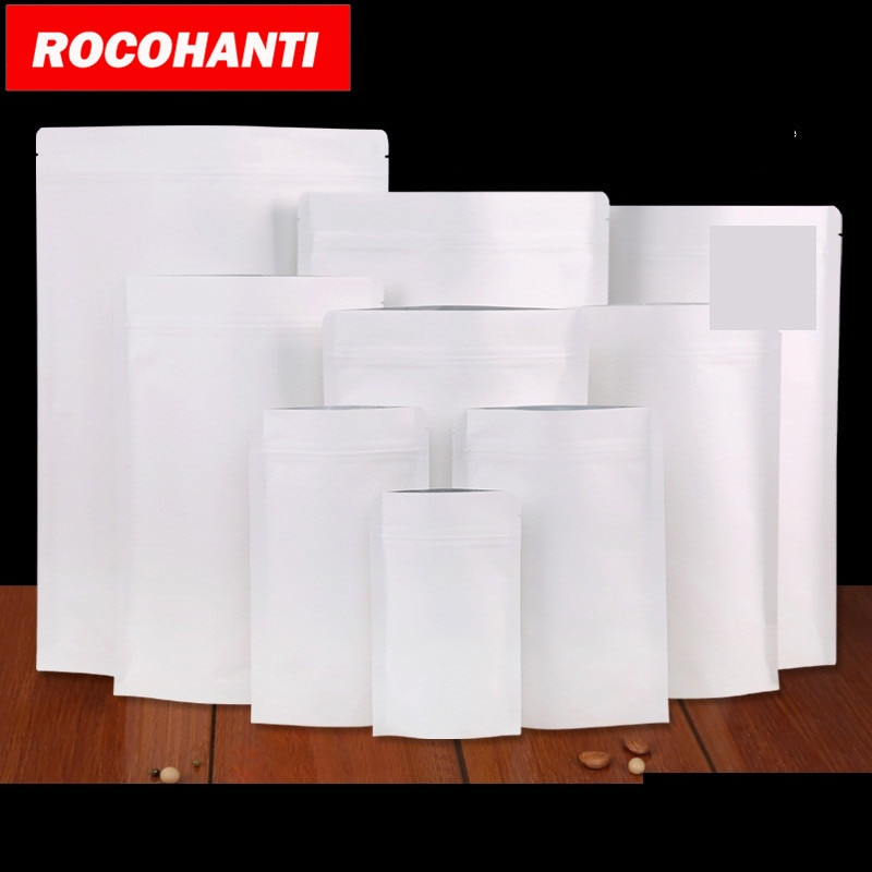 100X Food grade zabrać białe kcraft kwadratowe dno papierowe torby z personalizacją logo do pakowania żywności