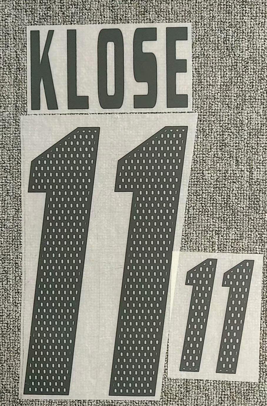 Retro 2002 #11 Klose Nameset Impresión de insignia de transferencia de hierro
