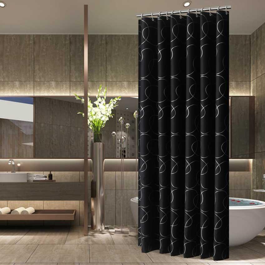 AliExpress - Modern Shower Curtains Geometric Flowers Cartoon Bath Curtain Cortina Waterproof Polyester For Bathroom with 12pcs Plastic Hooks
