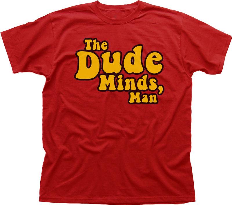 Camiseta estampada divertida roja de algodón The DUDE Minds Big Lebowski, camiseta Cool Casual pride para hombres, camiseta Unisex de moda