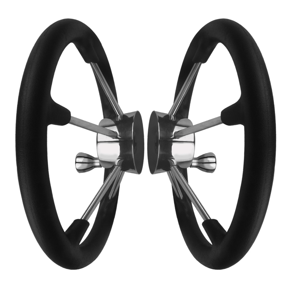 Boat Accessories Marine  5 Spoke Stainless Steel Boat Steering Wheel- Black Foam Grip With Knob enlarge